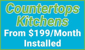 Kitchen countertops on sale from $199/mo installed at Erskine Interiors!