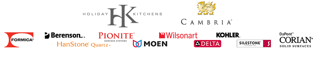 Erskine Interiors offers the following cabinetry brands: Holiday Kitchens, Cambria, Berenson, DuPont, Delta, Formica®,HanStone, Kohler, Moen, Pionite, Silestone and Wilsonart.
