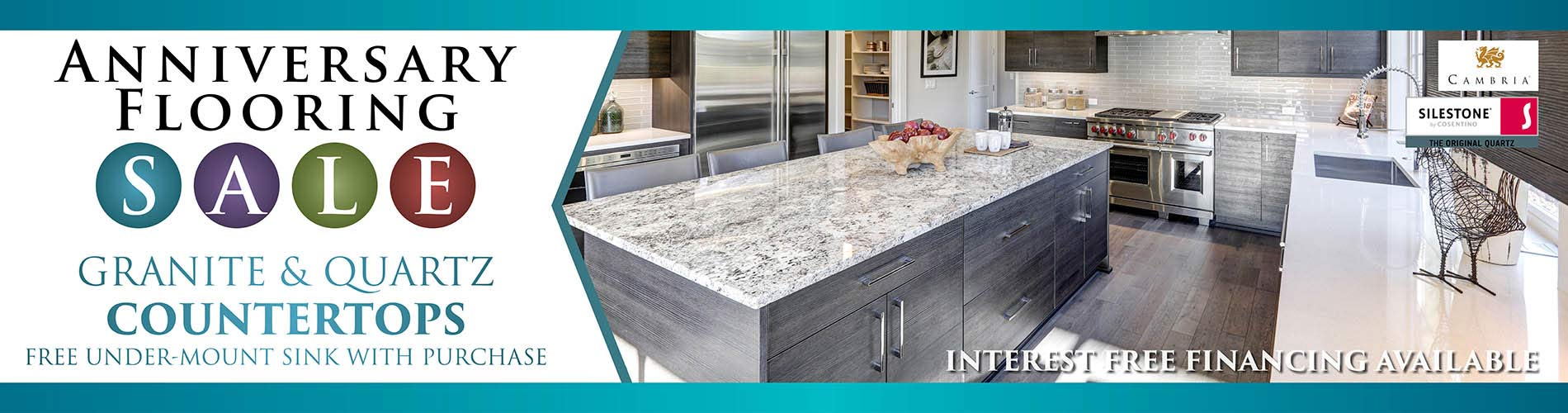 Free Under-mount Sink with your granite or quartz countertop purchase during our Sale Event at Erskine Interiors!